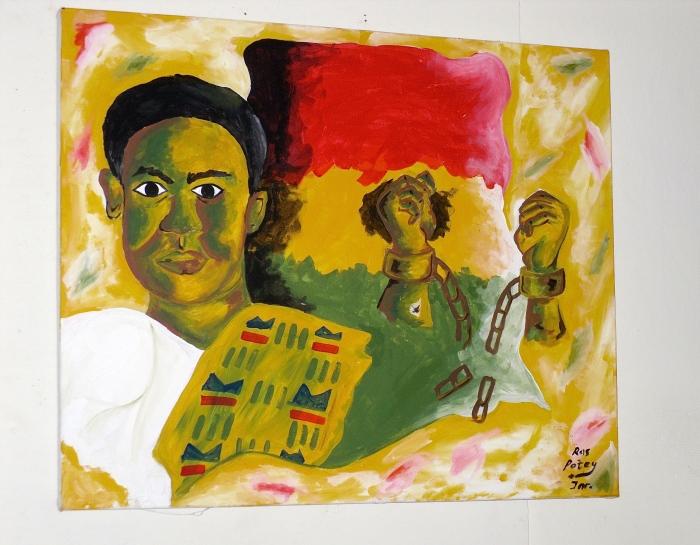 Artwork of Ghana's first president Dr.Kwame Nkrumah. W.E.B Dubois Center in Accra, Ghana 2010
