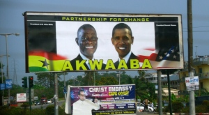 Pic taken in 2010 of an AKWAABA billboard that was put up for President Obama's 2009 visit. I am sure it's still up..lol