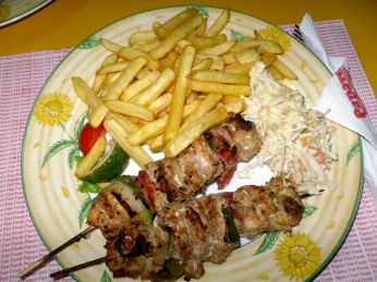 Fish Kebab, french fries and coleslaw