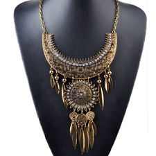 New Tribal boho brass bib statement necklace gold collar lead nickel