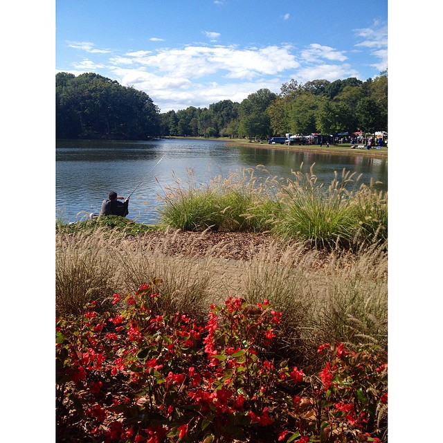 Someone fishing on a beautiful Fall DAY