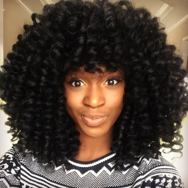 Kiitana is rocking a crochet braid wig with bangs that she made and ...