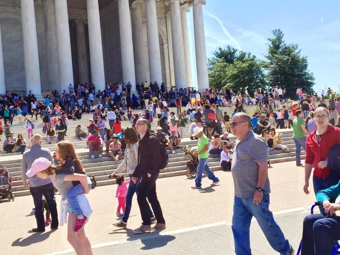 Crowd below Thomas Jefferson Memorial